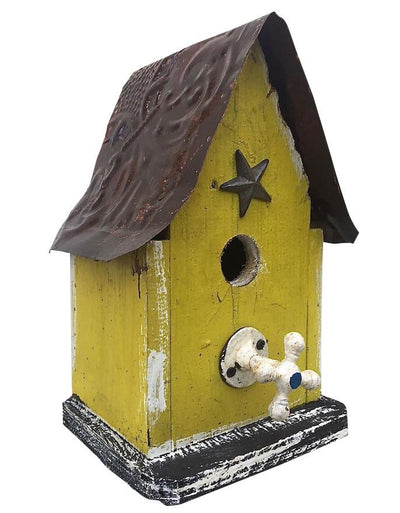Handmade Barn Wood Birdhouse- Yellow