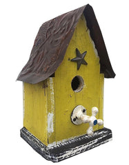 Barn Wood and Tin Rustic Birdhouse Yellow 2