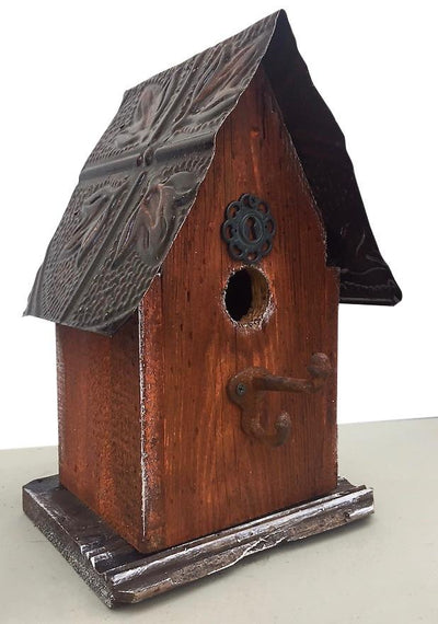 Barn Wood and Tin Birdhouse- Rust