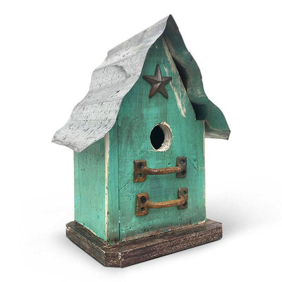 Barn Wood and Tin Birdhouse-Light Teal