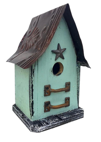 BarnWood and Tin Rudtic Birdhouse- Mint
