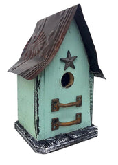 Barn Wood and Tin Rudtic Birdhouse- Light Teal