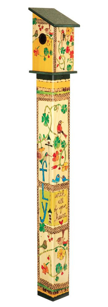 Fly with All Your Heart Art Vinyl Birdhouse on Pole