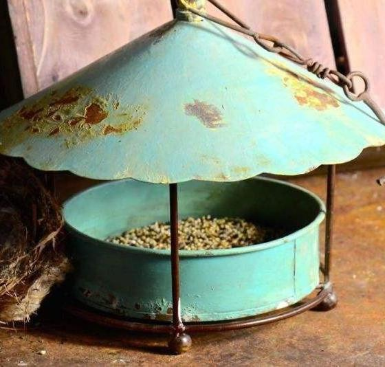 Aged Metal Hanging Bird Feeder Covered Platform Style