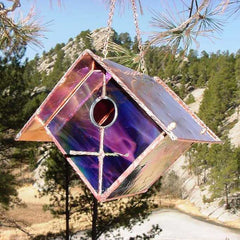 Black Cherry Stained Glass and Copper Birdhouse