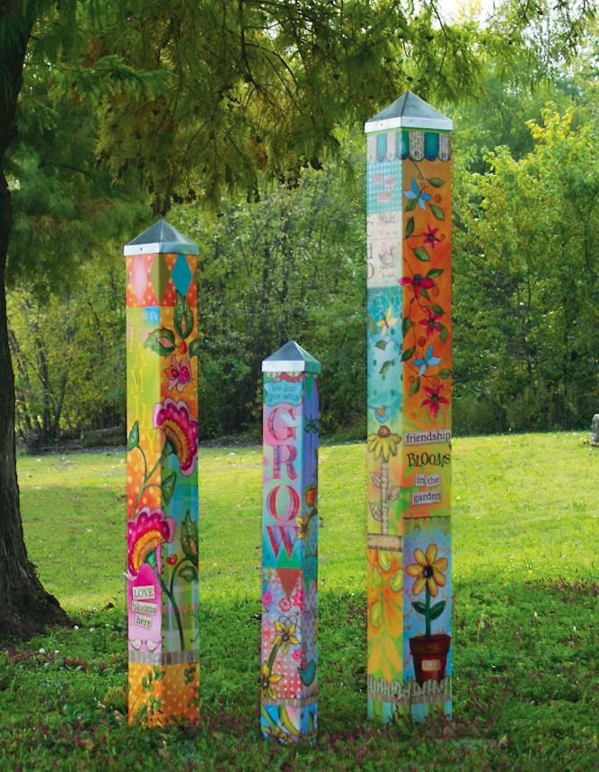 Blessed Nest Art Poles Set of 3 Vinyl Art Garden Poles The