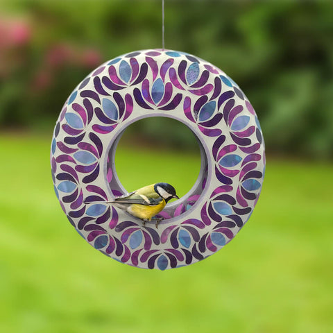 Blossom Mosaic Glass Fly-Thru Feeder