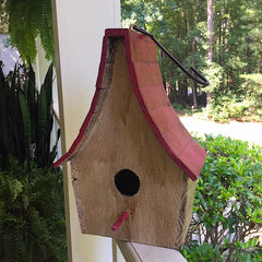 Boho Chalet Hanging Birdhouse- Red