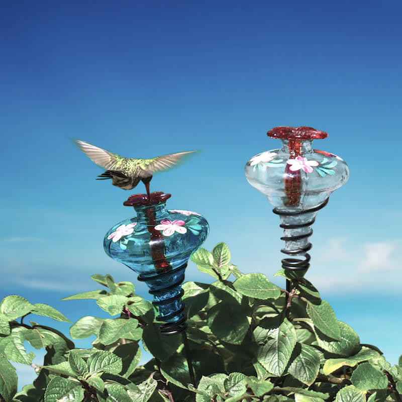 Hand Painted Glass Hummingbird Feeder