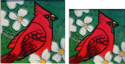 Hand Crafted Ceramic Tiles-Set of 2 Cardinals