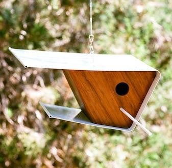 Retro Birdhouse - Wood and Steel