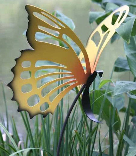 Large butterfly garden stake the birdhouse chick for Big hands for gardening
