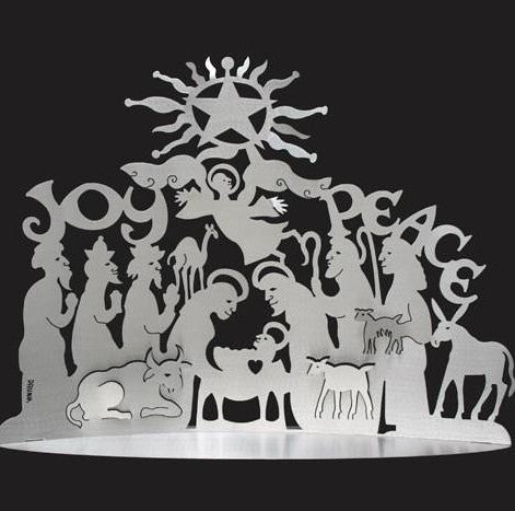 Standing Nativity- Brushed Aluminum 24x17