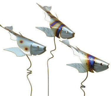 Koi Fish Garden Stakes-Stainless Steel Set/3