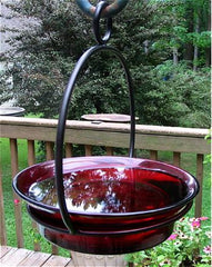 Red Hanging Bird Feeder and Bird Bath