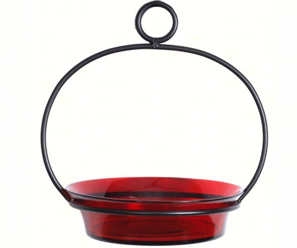 Ruby Red Hanging Bird Feeder & BirdBath
