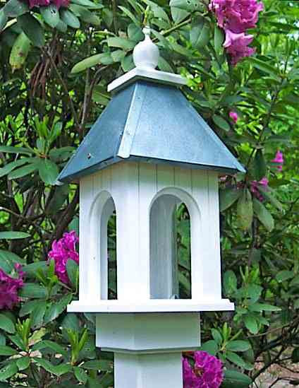 Camellia Bird Feeder in Vinyl/PVC-Gazebo Style Feeder with Two Roof Options