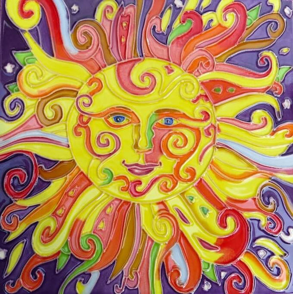 Ceramic Sun Face Tile 8x8 Sun Wall Decor Colorful Sun