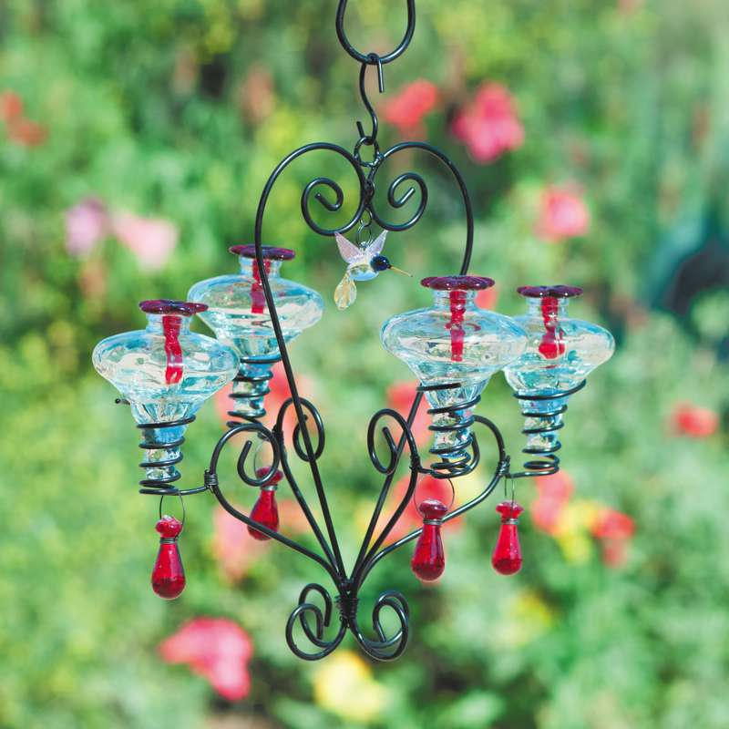 Chandelier Glass Hummingbird Feeder- 4 Stations