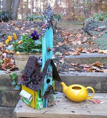 Aqua Church Birdhouse is one-of-a-kind