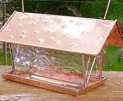 Clear Glass and Copper Hanging Bird Feeder