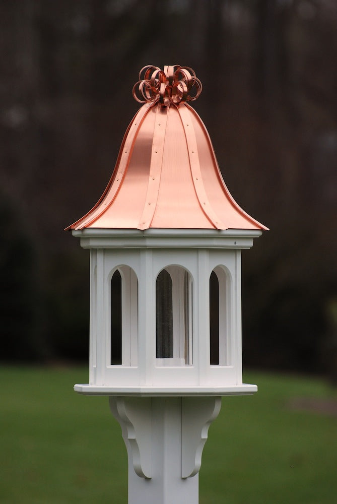 Copper Roof Bird Feeder Vinyl-PVC with Ribbon Detail
