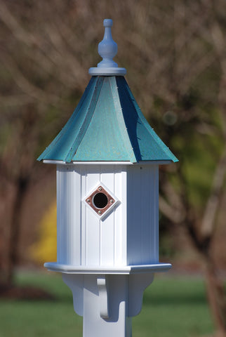 Copper Roof Birdhouse 28x10-Patina