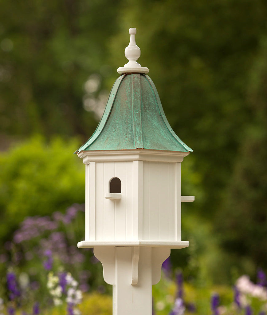 Copper Roof Birdhouse Vinyl with 3 Perches- Patina