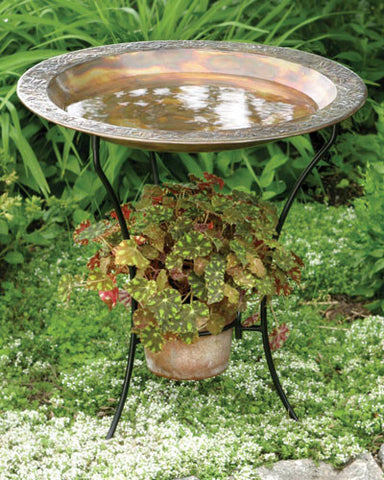 Flamed Bird Bath with Planter
