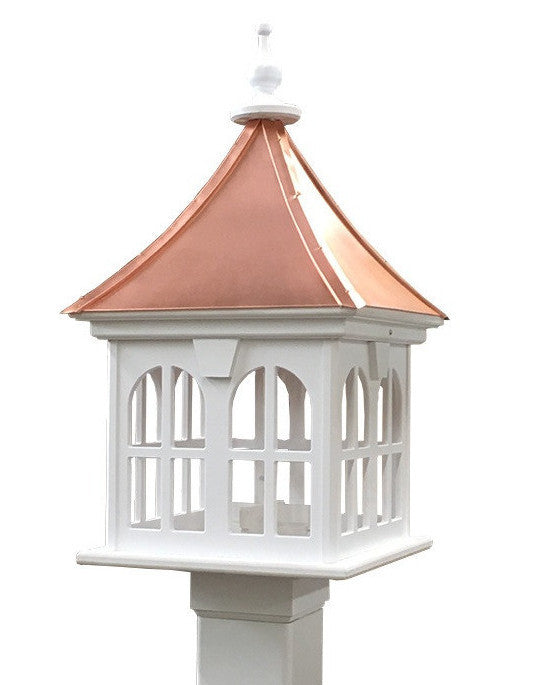 Copper Roof Bird Feeder with Double-Window Element