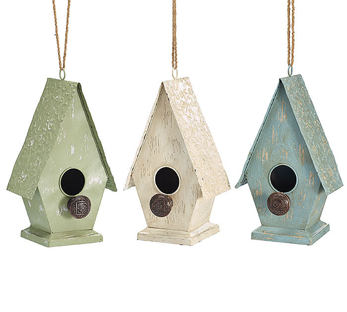 Distressed Cottage Birdhouse in 3 Colors