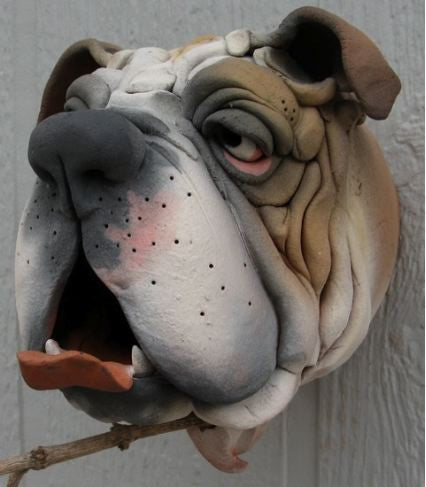 Gargler Ceramic Birdhouse Bull Dog