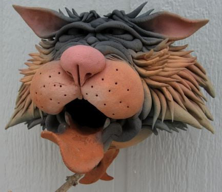 Zany Cat-5 Ceramic Birdhouse