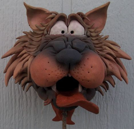 Zany Cat-3 Ceramic Birdhouse