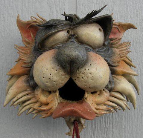 Zany Cat-2 Ceramic Birdhouse