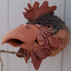 Ceramic Rooster Birdhouse