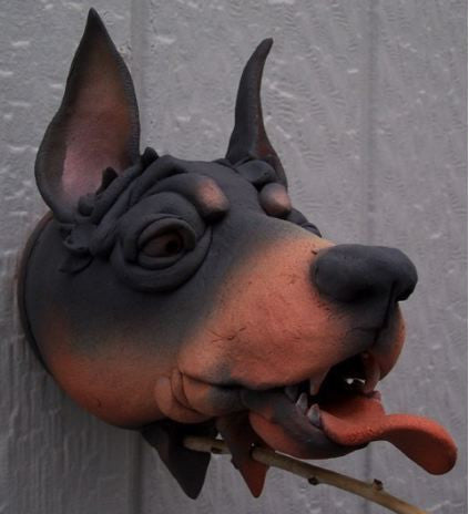 Doberman Ceramic Birdhouse