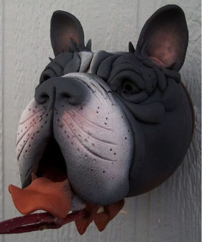 Boston Terrier Ceramic Birdhouse