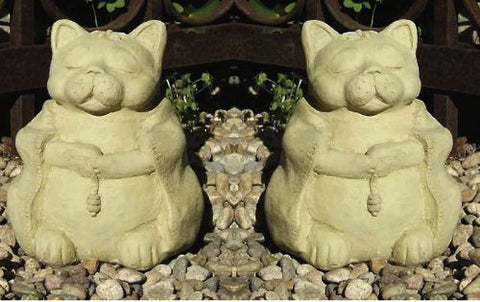 Meditating Zen Cats Set-Stone Garden Sculpture