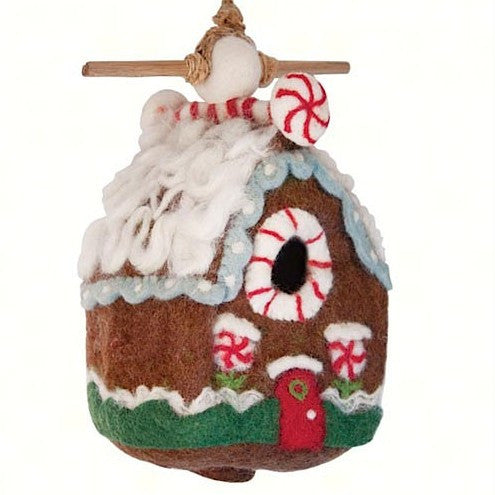 Gingerbread Chalet Felt Wool Birdhouse