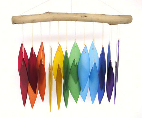 Rainbow Glass & Driftwood Wind Chime