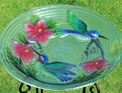 Hummingbird Couple Glass Bird Bath w/Scroll Base
