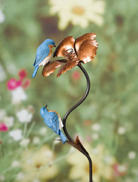 Bluebirds with Copper Flower Garden Stake