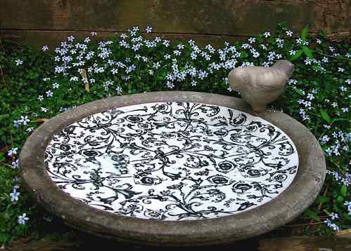 Aged Ceramic Bird Bath-Black