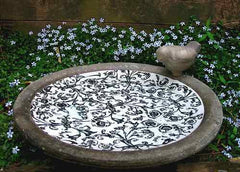 Aged Ceramic Ground/Deck Mount Bird Bath-Black Scroll