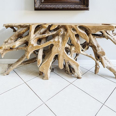 Teak Root Console Table- 6 ft.