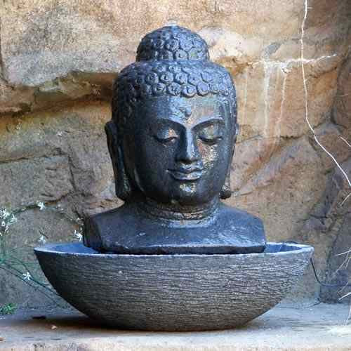 Large Buddha Head Fountain: Buddha Head Fountain-Lava Stone