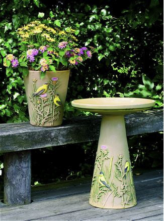 Goldfinch Pedestal Bird Bath