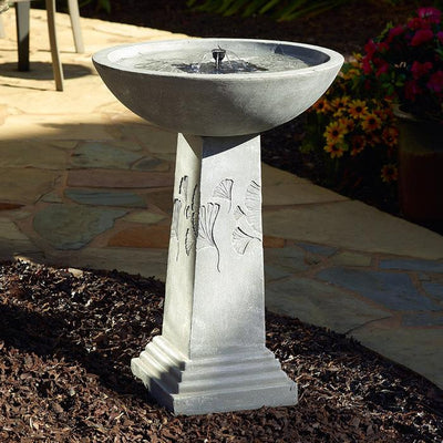 Ginko Tall Solar Bird Bath
