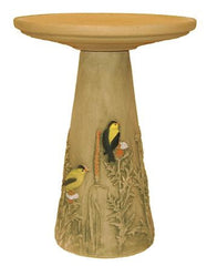 Goldfinch Pedestal Bird Bath-Hand Painted